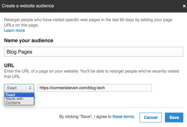 Enter the URL you want to retarget and select an option from the drop-down menu.