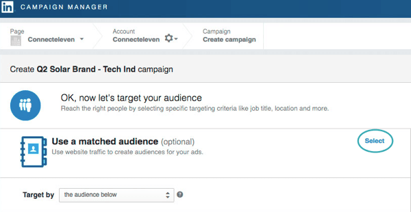 Click Select to use website traffic to create an audience.