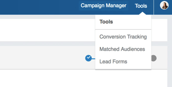 Select Matched Audiences from the Tools drop-down menu.