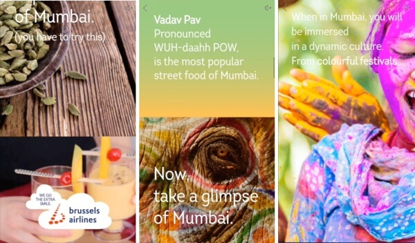 facebook mobile canvas ad from brussels airlines mumbai