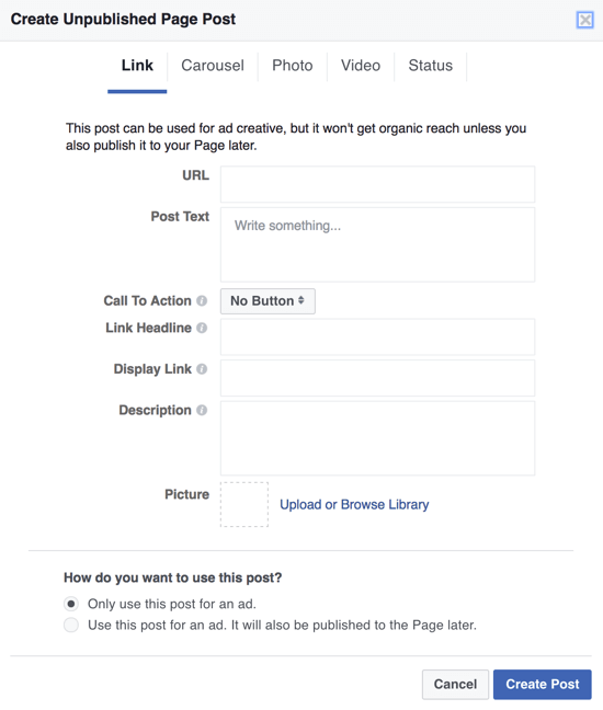 To create Facebook dark posts as ads, you can use Power Editor and select Only Use This Post for an Ad.