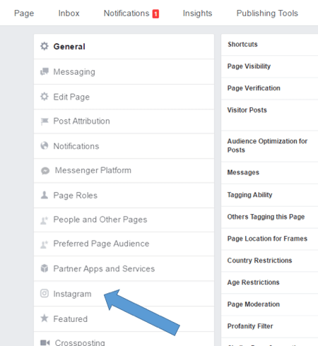 Select Instagram in your Facebook page settings.