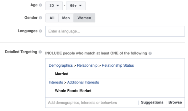 Facebook's targeting features are robust.