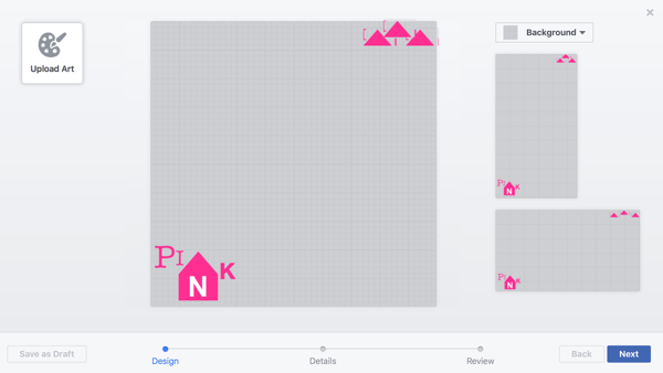 Facebook lets you upload multiple designs onto a single frame and place them individually, which is extremely helpful considering the dual layouts.