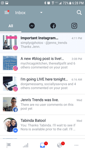 View notifications for your Facebook page, Messenger, and Instagram on the All tab.