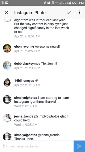 Tap an Instagram post notification in your Facebook inbox to view the comment thread.