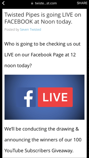 facebook live video announcement