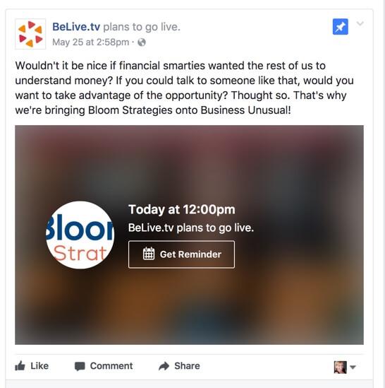 facebook live video announcement