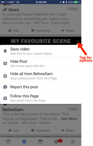 facebook mobile video tab use options