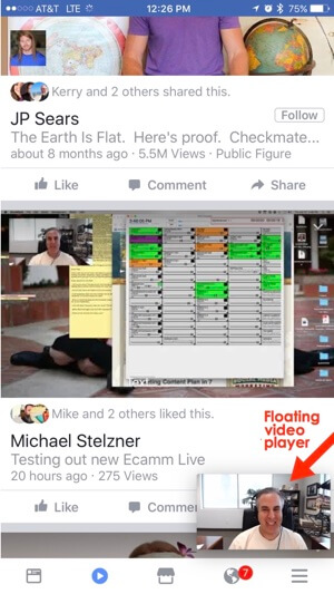 facebook mobile video tab floating video player