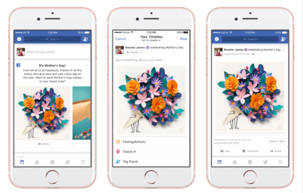 """Facebook rolled out personalized cards, themed masks and frames in the Facebook Camera, and a temporary """"Thankful"""" reaction in honor of Mother's Day."""