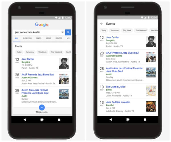 Google updated its app and mobile web experience to help web searchers more easily find things happening nearby, either now or in the future.