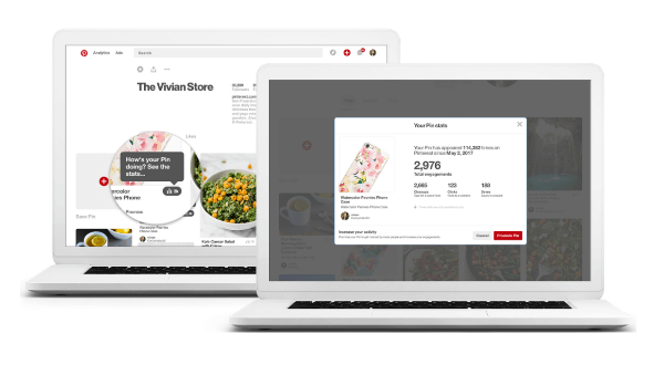 Pinterest added a simple stats icon on each Pin that gives marketers a preview of that Pin's total engagements and access to other valuable metrics right on the Pin.