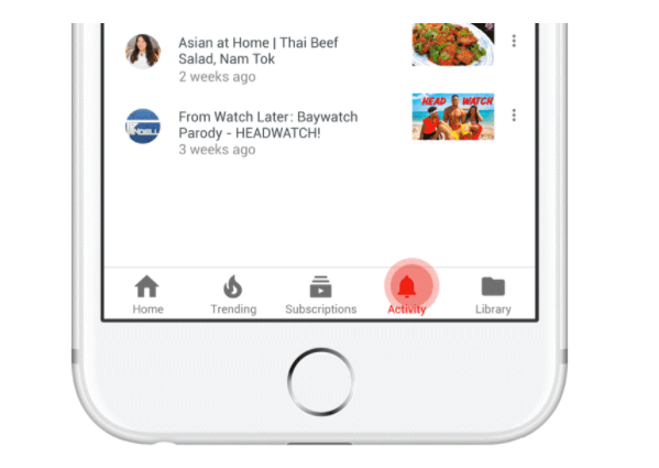 YouTube introduces a new activity tab for the most recent version of the iOS app.