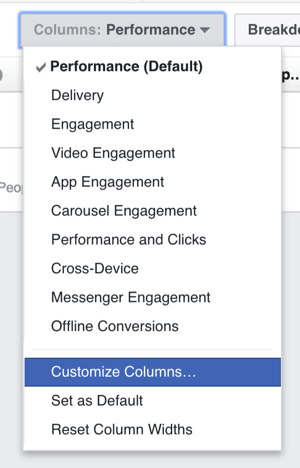 You can customize the columns shown in your Facebook ad results table.