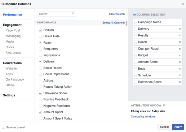 Select the data you want to see in your Facebook campaign results table.
