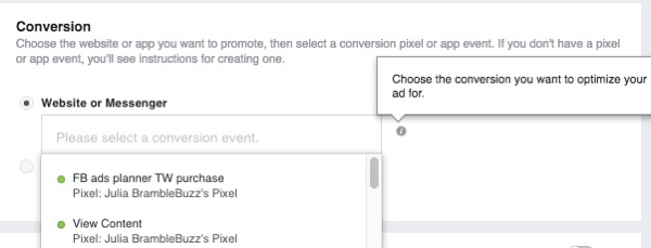 When you set up a website conversions ad campaign, select the pixel that will be used to track conversions.