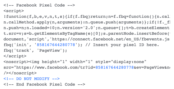 Install the Facebook pixel code on your website.