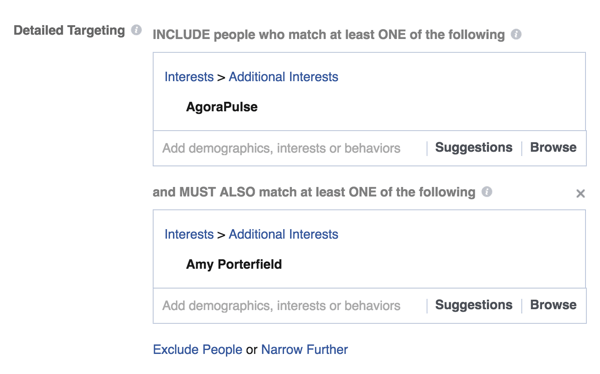 Narrow your Facebook ad targeting by selecting additional interests such as a specific influencer or company.