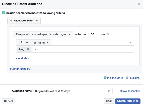 Create a Facebook custom audience of visitors to your blog's home page.