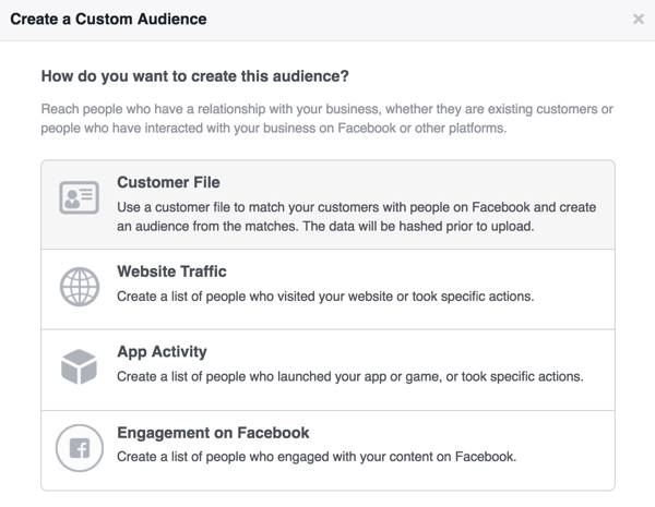 Select Customer File to create your Facebook custom audience of newsletter subscribers.