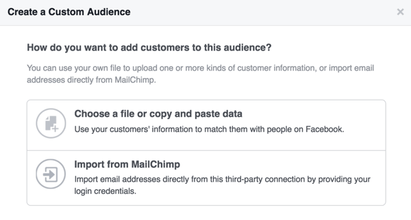 Decide whether to upload a customer file or import email addresses from MailChimp.
