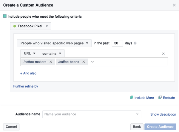 To create your Facebook custom audience, select People Who Visit Specific Web Pages and type in your landing page URLs.