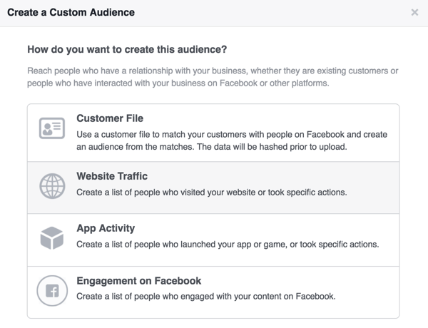 Select Website Traffic to set up a Facebook custom audience of website visitors.
