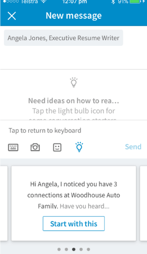 The LinkedIn mobile app provides conversation starters based on the connection you want to message.