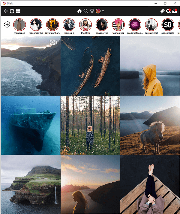 Grids mirrors the Instagram experience from your phone, and includes the ability to see Stories on your desktop.