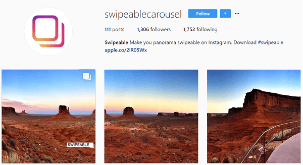 Swipeable turns panoramas and 360 photos into multi-image posts.