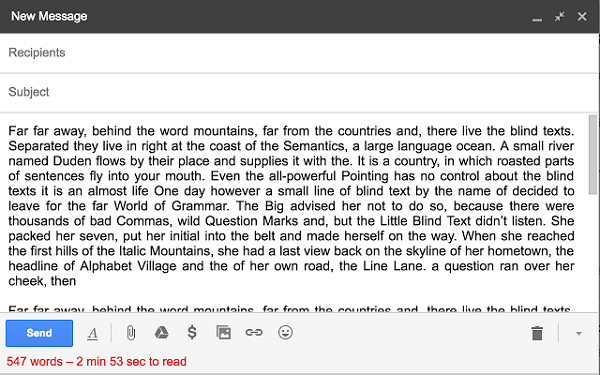 Use TinyMails to keep track of word count and read time.