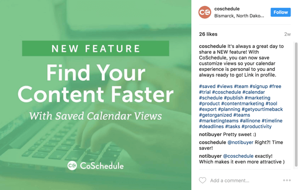 In the caption, point users to the blog post link in your Instagram bio.