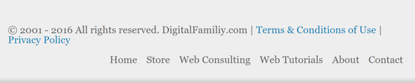 A website often displays its Terms of Use in the footer.