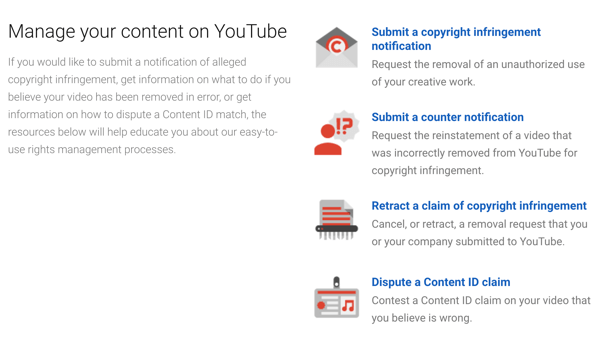 YouTube has takedown procedures you can follow if someone infringes on your copyright.