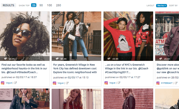 You can also see the brand's most engaging Instagram posts for the past week.