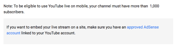 YouTube Live via mobile requires you to have 1000 or more followers for your channel.