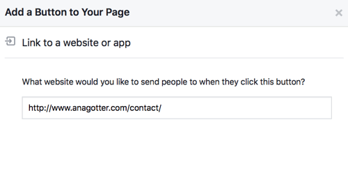 Finish setting up your Facebook CTA button with links or contact information so it's fully functional.