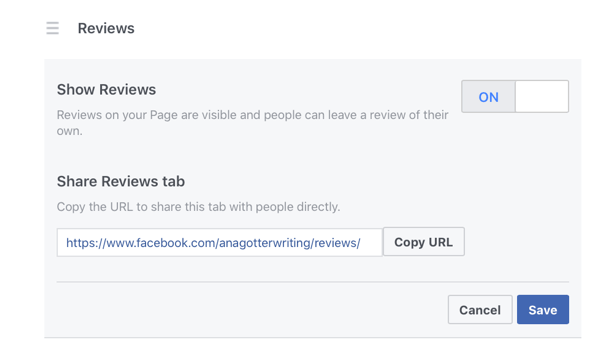 Enable Facebook reviews by selecting On next to Show Reviews.