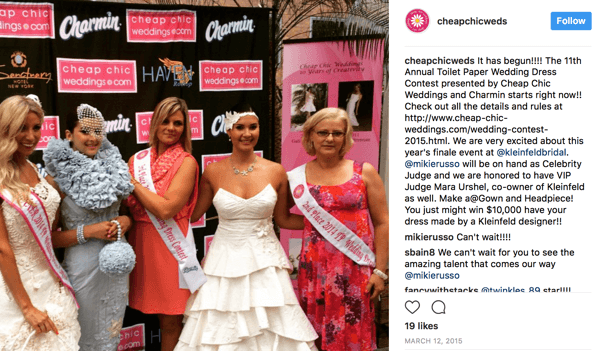 Charmin is one of the sponsors of an annual social contest where customers make wedding dresses out of toilet paper. In the 2015 contest, Kleinfeld Bridal also went in on the prize with the reward of a custom-made dress for the winner.