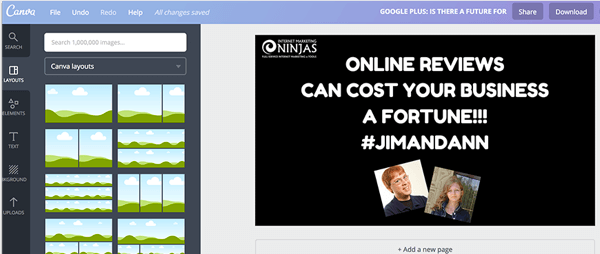 Canva is a handy tool for creating a video intro and custom thumbnail.