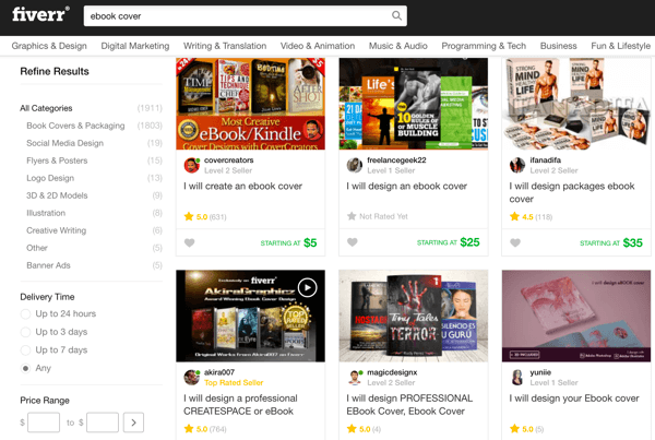 Fiverr is an affordable option for finding someone to design an ebook cover.