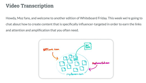 Moz provides a full video transcription for Whiteboard Friday.