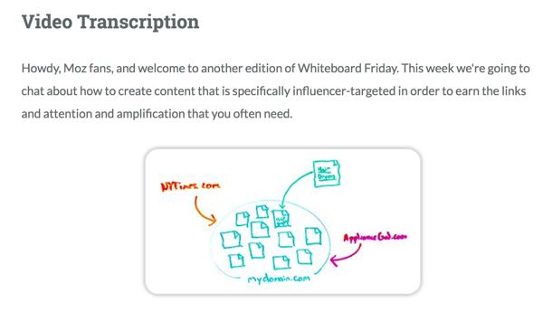 Moz provides a full video transcription for Whiteboard Friday.