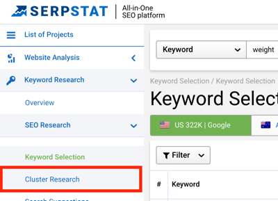 Select Cluster Research in the left pane to access the tool in Serpstat.