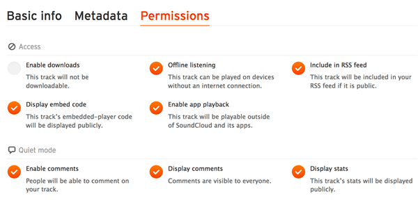 Check the Permissions tab to make sure your audio file is included in your SoundCloud RSS feed.