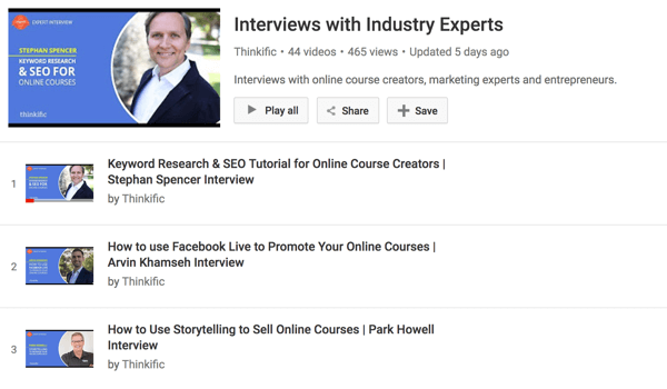 Thinkific's YouTube channel has a series of interviews with online course creators.
