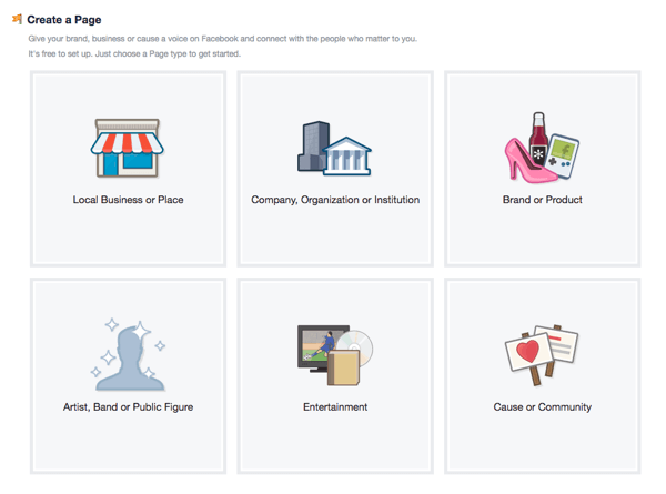 Chọn loại trang Facebook của bạn một cách cẩn thận.