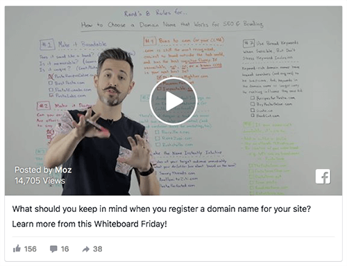 This video ad shares educational content from SEO company Moz.