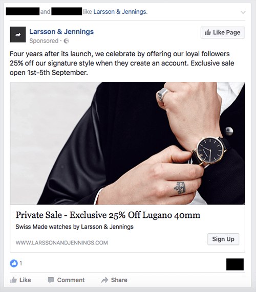 Ad for an exclusive sale from watch brand Larsson & Jennings.